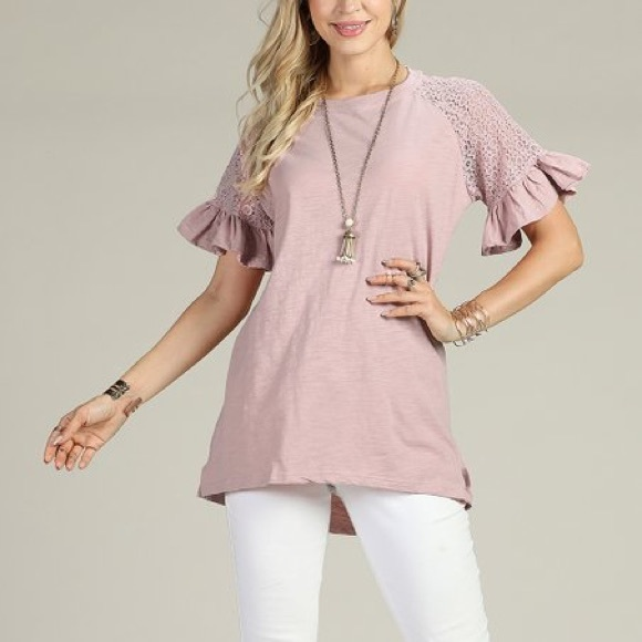 b5946728912 Suzanne Betro Tops   Dusty Rose Laceaccent Ruffle Tunic   Poshmark